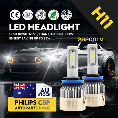 PHILIPS LED LAMP 252W 25200LM H11 H8 H9 HEADLIGHT KIT High Low BEAM BULBS Globes