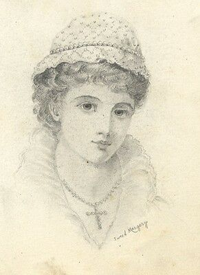 Portrait of a Girl Sweet Margery - Original late 19th-century graphite drawing