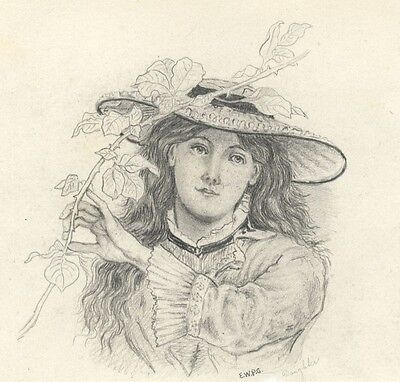 Girl with Rose Branch, Gardener's Daughter - Late 19th-century graphite drawing