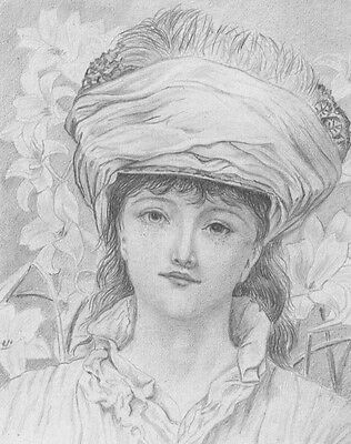 Lady of the Lilies Girl Portrait - Original late 19th-century graphite drawing
