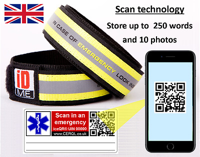 iDME wristbands with QR code storing up to 250 words & 10 photos of data.~