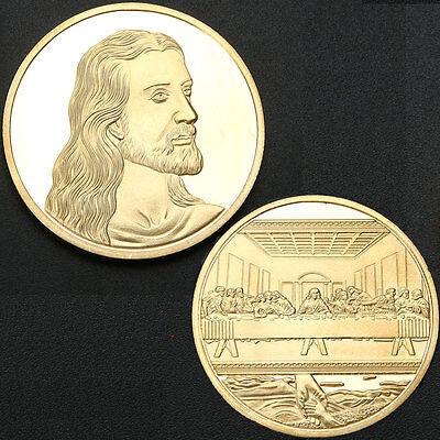 Jesus Last Supper Gold Plated Souvenir Coin Art Collection Collectible Christmas