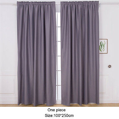 Blackout Thermal Solid Window Curtain Living Room Bedroom Single Drape 1x2.5M