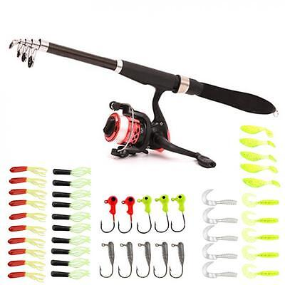 1.6M Fishing Tackle Telescopic Rod + Spinning Reel + Lure + Lead Hooks Sets