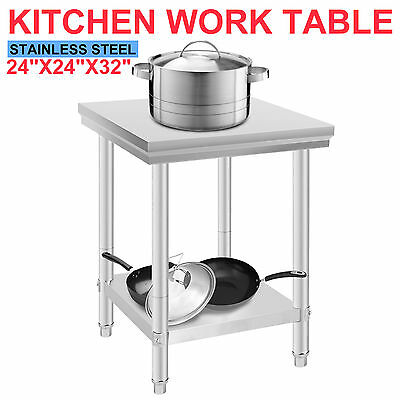 60X60X80mm Commercial Stainless Steel Kitchen Work Bench Food Prep Table Top