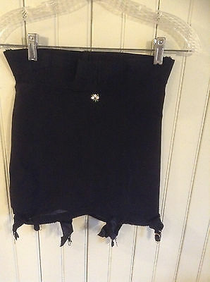 Vintage 434 Youthcraft black open bottom girdle w/ 6 garters size L