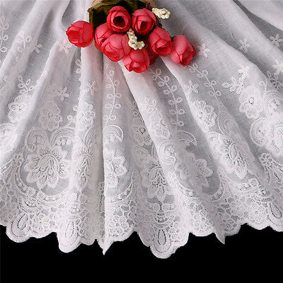 1Yard Flower Embroidery Tulle Lace Trim Lace Fabric Wedding Dress DIY Sewing