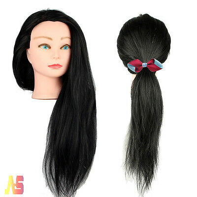 100% Real Human Hair Training Head Doll Mannequin Hairdressing Practice + Clamp