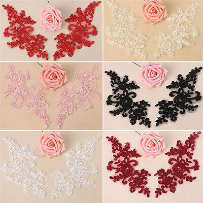 1Pair Flower Lace Trim Wedding Bridal Dress Clothing Applique DIY Sewing Craft