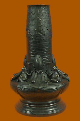 Leaping Frog On Lilly Pond Bronze Vase Sculpture Hot Cast Marble Base Figurine