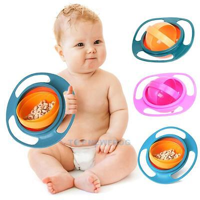 Spill-Proof Food Gyro Feeding Bowl Dish 360 degree Rotate lid Kid Children Baby