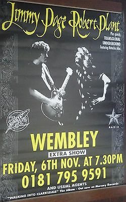 "40x60"" HUGE TOUR SUBWAY POSTER~Jimmy Page Robert Plant LIVE 1998 Wembley Arena~"