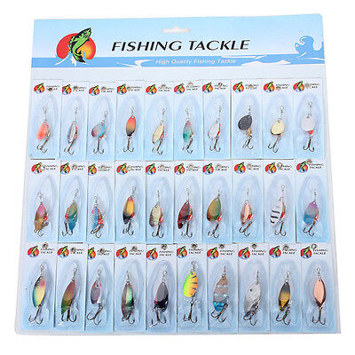 30X Metal Mixed Spinners Fishing Lure Pike Salmon Baits Bass Trout Fish Hoo T4O7