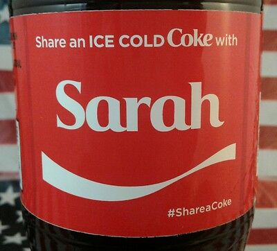Share A Coke With Sarah Limited Edition Coca Cola Bottle 2017 USA