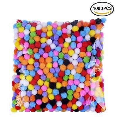 8mm Craft Pom Poms Assorted Colours Fluffy 1000 Pack