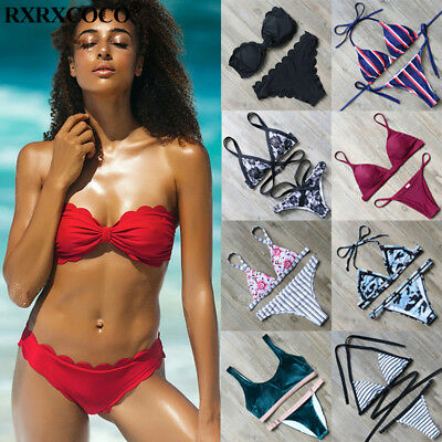 RXRXCOCO Women Push-up Padded Bra Bandage Bikini Swimsuit Swimwear Bathing Suit
