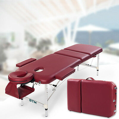 BTM Portable Massage Table Bed Couch Lightweight Folding Therapy Bed Red wine