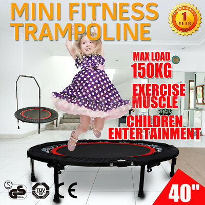 "40"" Mini Trampoline Handrail Exercise Workout Cardio Indoor&Outdoor Fitness Gym"
