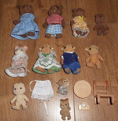 Sylvanian Families Figure Bundle Of Figures 'free Post' Deer, Brown Bears