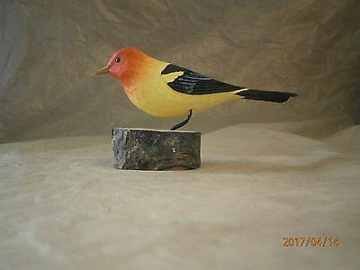 1983 Western Tanager Hand Carved Wood Bird Signed By Artists Nancy & Ron Kennedy