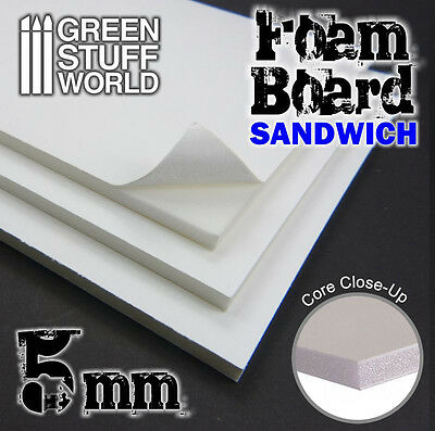 Foamboard 5 mm - Light Foam Board - DIN A4 Size - 2 sheets - Scratch Diorama
