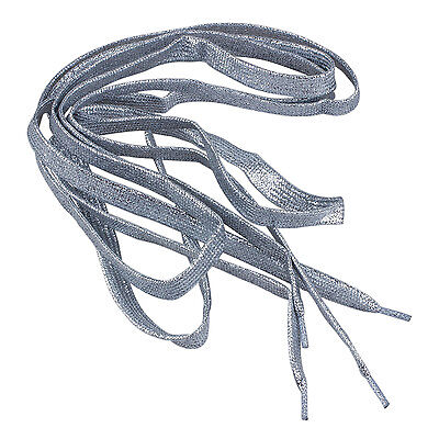 "L9V5 2X 47"" Glitter Flat Coloured Shoelaces Boot Laces Sport Dance -Silver T8Q5"
