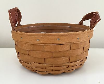 Longaberger 2014 Button Basket with Plastic Protector Liner & Leather Handles