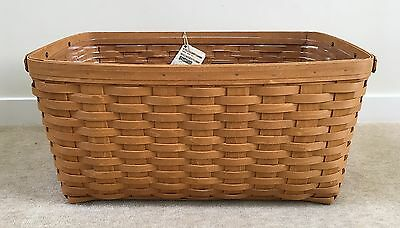 Longaberger 2014 Large Laundry Basket with Leather Handles and Plastic Protector