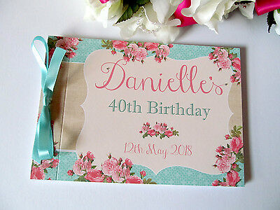 Personalised Baby Shower Birthday Party Guest Book Shabby Chic Roses Vintage