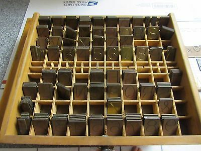Vintage Brass Engravers Set Numbers Letters Reverse Great Shape With Box