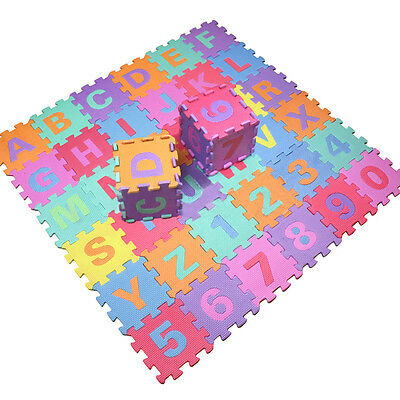 36pcs Soft EVA Foam Baby Children Kids Play Mat Alphabet Number Puzzle Jigs G4P3