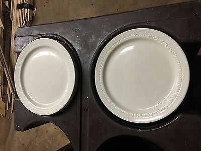 """300 Syracuse China 9 1/2"""" Dinner Plates and stainless steel plate covers"""