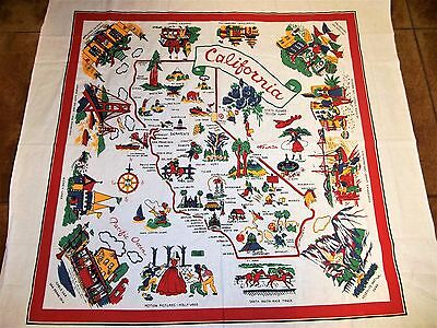 """Vintage State of California Cotton Fabric Map, 50"""" Souvenir Tablecloth, UNUSED"""