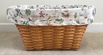 Longaberger 2000 Large Oval Laundry Basket w Leather Handles & Plastic Protector