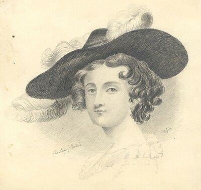 E. Gill, The Lady of Irkdale - Original mid-19th-century graphite drawing