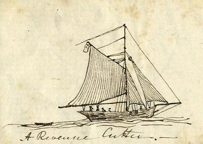 David Mocatta, Revenue Cutter - Original early 19th-century pen & ink drawing