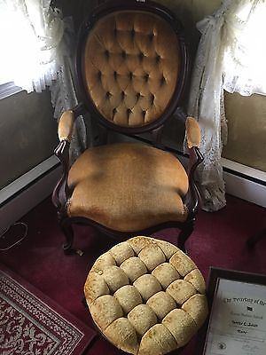 Antique Victorian Chairs with Mahogany Wood (3) and stool
