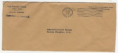 Panama Canal 1948 Official Envelope Mailed Cristobal To Balboa Heights