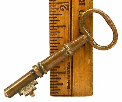 "Antique BRASS SKELETON KEY 2-3/4"" Solid Barrel FURNITURE Lock Cabinet BOX LOCK?!"