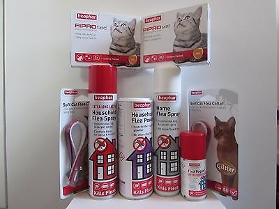 Beaphar Cat Flea Treatments Fiprotec Collars Fogger and Household Treatments