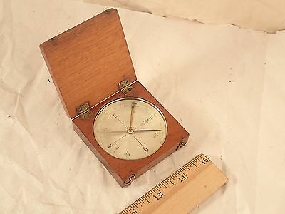Antique 1800's Gentleman's Mahogany Wood Cased Pocket Compass, Brass fitments