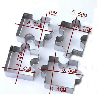 stainless steel jigsaw pieces cookie cutter set 4pcs baking puzzle shaped