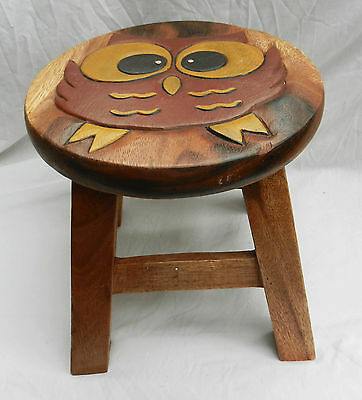 Chunky Hand Carved Solid Wooden Child's Stool - Owl Design - NEW