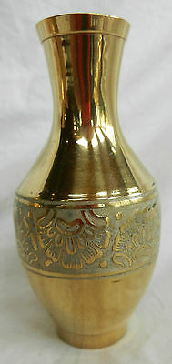 Hand Engraved Indian Brass Vase - New Item