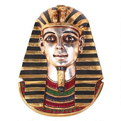 Magnificent King Tut Tutankhamen Ancient Egyptian Hand Painted Wall Sculpture
