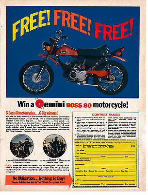 1973 Gemini Boss 80 Motorcycle 8.5 HP 2 cycle-San Tong Comp-Original Magazine Ad