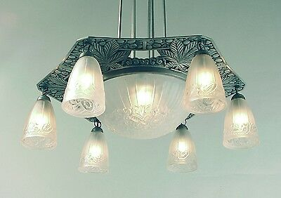 Large, Long French Art Deco 7-light Chandelier with Bowl, Can Be Shortened