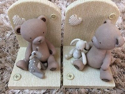 Ex John Lewis Baby Teddy And Rabbit Bookends Nursery Cute Decor Accessory