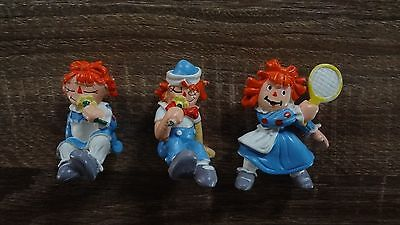 Rare Vintage Lot of 3 Raggedy Ann Andy PVC Figurines! 1981 W Berrie Portugal