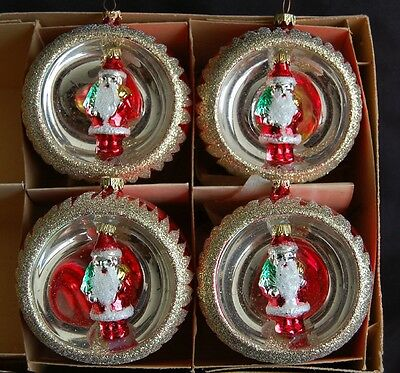 "4 Vintage Santa Indents Glass Christmas Ornaments 3"" W. Germany Shiny Brite box"